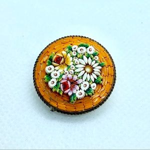 Vtg Made in Italy Orange Micro Mosaic Floral Pin